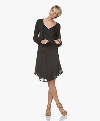 BRAEZ Voile Dress with Tie-closure - Petrol