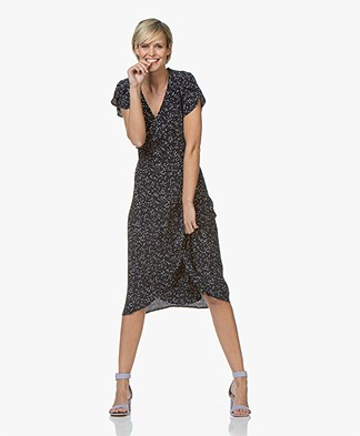 indi & cold Viscose Wrap Dress with Dot Print - Marino