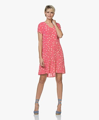 indi & cold Floral Print A-line Dress - Rosa Acido