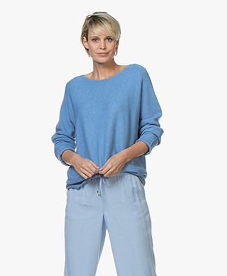 Repeat Rib Gebreide Katoenmix Trui - Blue Jeans