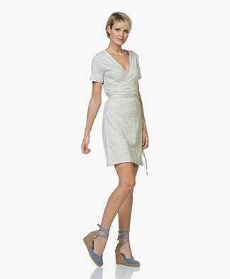 Majestic Filatures Linen Slub Jersey Wrap Dress - Carrare