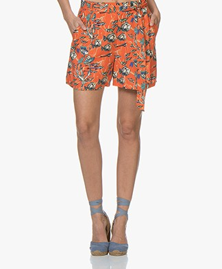 Marie Sixtine Matt Viscose Print Shorts - Sea