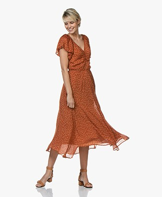 Mes Demoiselles Falbala Printed Silk Midi Dress - Orange