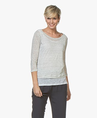 Majestic Layered T-shirt with Cropped Sleeves - Grey Melange