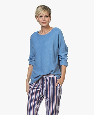 Repeat Rib Knitted Cotton Blend Sweater - Blue Jeans