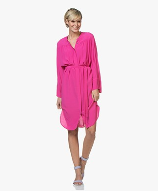 Repeat Viscose Crepe Shirt Dress - Raspberry
