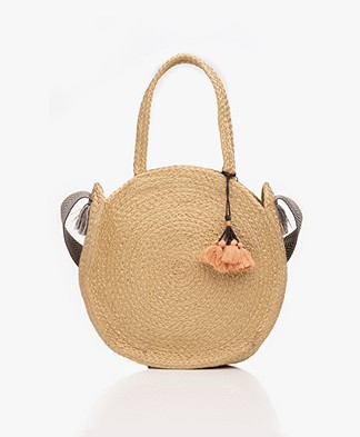 indi & cold Round Jute Shoulder Bag - Lino