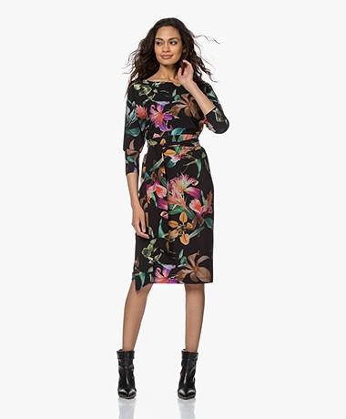 LaDress Caroline Travel Jersey Floral Printed Dress - Multi-color