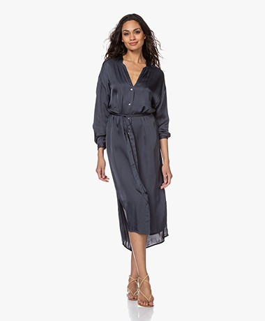 no man's land Satin Shirt Dress - Slate