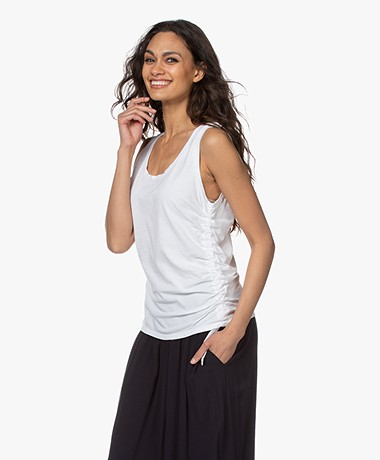 Majestic Filatures Cindy Bruna Tank Top with Gathered Design - White