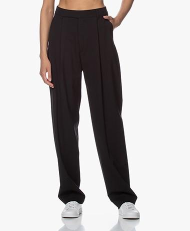 Filippa K Julie Loose-fit Wolmix Pantalon - Zwart