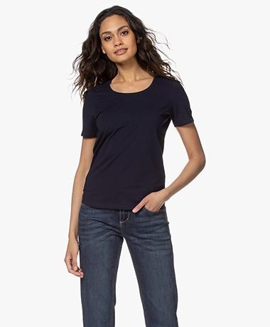 Repeat Cotton Basic Round Neck T-shirt - Navy