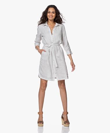 Belluna Panama Pure Linen Shirt Dress - Light Grey