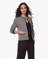Sibin/Linnebjerg Coco Short Houndstooth Cardigan - Black/Kit