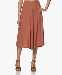 by-bar Mavis A-line Viscose Crepe Skirt - Bricks