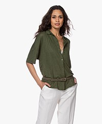 Majestic Filatures Linen Jersey Polo Shirt - New Khaki