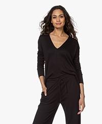 Rag & Bone Hudson Fine Knit V-neck Sweater - Black