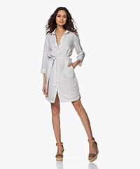 Belluna Panama Pure Linen Shirt Dress - Light Grey