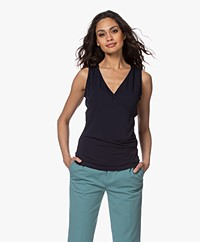 no man's land V-neck Wrap Top - Dark Sapphire