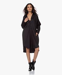 Woman by Earn Wies Stretch Katoenmix Blousejurk - Zwart