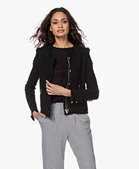 IRO Agnette Distressed Boucle Blazer - Black