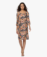 no man's land Bloemenprint Tech Jersey Jurk - Slate