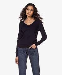 Repeat Cotton Blend V-neck Pullover - Navy