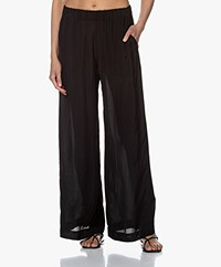 Pomandère Loose-fit Viscose Crepe Pants - Black