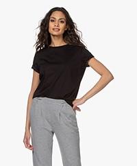 Drykorn Anisia Basic Katoenen T-Shirt - Zwart