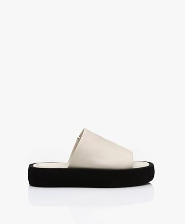By Malene Birger Siri Leren Platform Slippers - Soft White