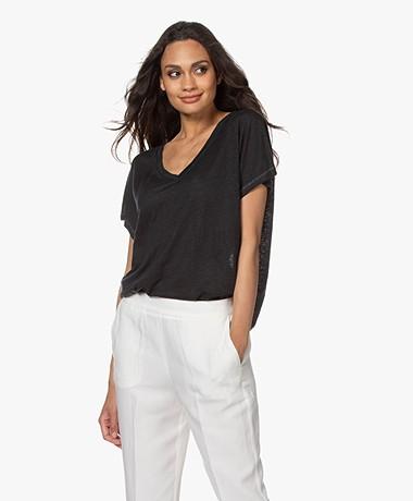 Drykorn Svana Linnen V-hals T-shirt - Zwart