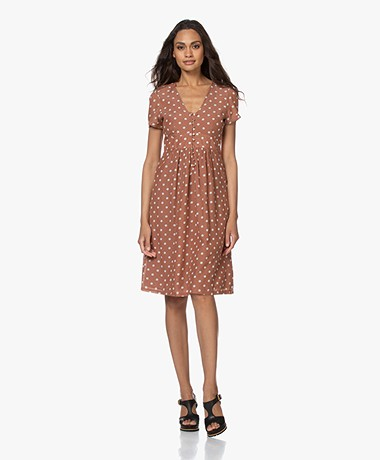 indi & cold Short Sleeve Polkadot Dress - Maquillaje