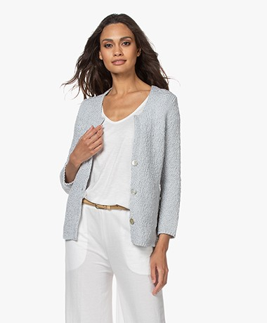 Belluna Samedi Crochet Cardigan in Cotton - Light Grey