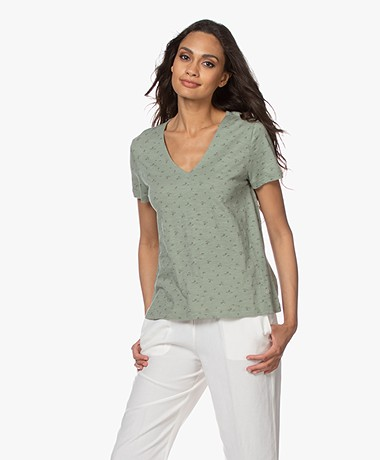 indi & cold V-neck T-Shirt with Print - Sage