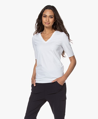 JapanTKY Lyo Travel Jersey V-neck T-shirt - White