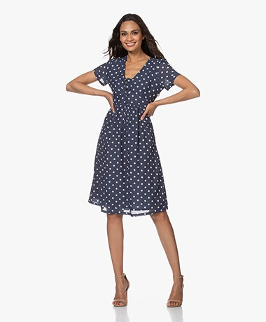 indi & cold Short Sleeve Polkadot Dress - Navy