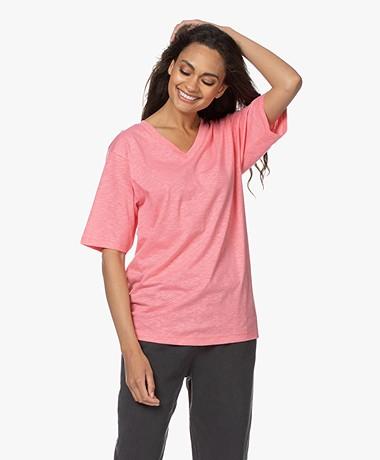 American Vintage Comiwood Linnen T-shirt - Bubblegum
