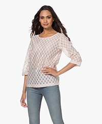 no man's land Lace Cropped Sleeve T-shirt - Light Pink