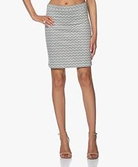 no man's land Jacquard Jersey Mini Skirt - Ocean Air