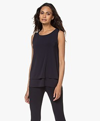 no man's land Layered Crepe Jersey Top - Dark Sapphire