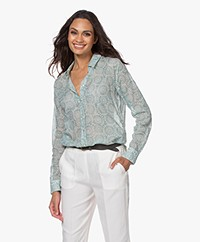 Belluna Studio East Printed Batiste Blouse - Mint Green
