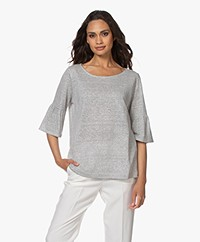 no man's land Linen Blend Ruffle Sleeve T-shirt - Off-white/Black