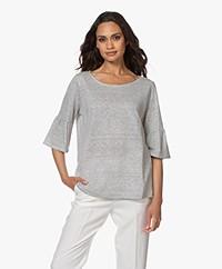 no man's land Linnenmix T-shirt met Volantmouwen - Off-white/Zwart