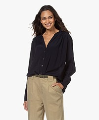Repeat Viscose Crepe Blouse - Navy