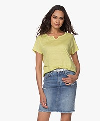 no man's land Linen Slit Neck T-shirt - Citrus