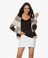 indi & cold Striped Open Cardigan - Black