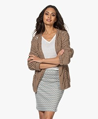 Sibin/Linnebjerg Short Open Cable Knit Cardigan - Brown