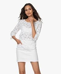 no man's land Burn-out Lace T-shirt - White