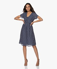 indi & cold Short Sleeve Polkadot Dress - Navy