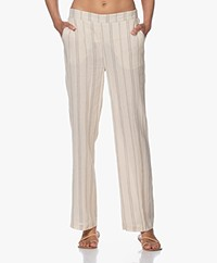 MKT Studio Poloka Cotton Tick Stripe Pants - Ivory